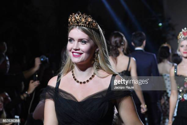 Kitty Spencer walks the runway at the Dolce Gabbana secret show during Milan Fashion Week Spring/Summer 2018 at Bar Martini on September 23 2017 in...