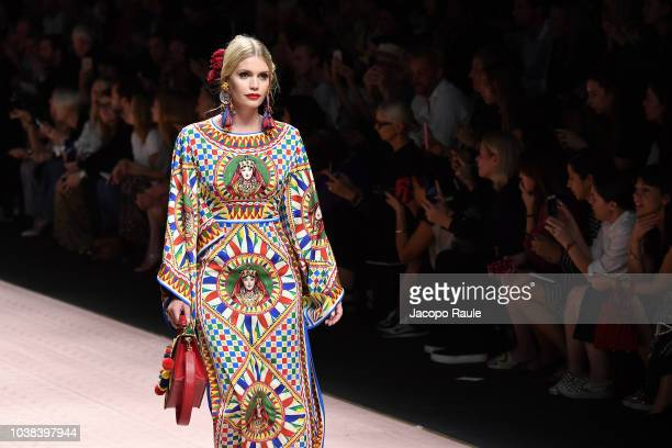 Kitty Spencer walks the runway at the Dolce Gabbana show during Milan Fashion Week Spring/Summer 2019 on September 23 2018 in Milan Italy
