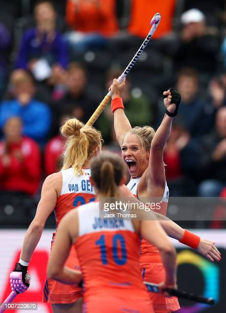 Kitty Van Male of Netherlands celebrates scoring her sides seventh goal during the FIH Womens Hockey World Cup Pool A game between Netherlands and...