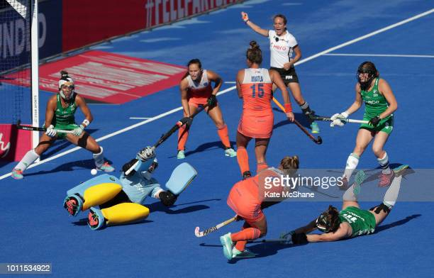 Kitty Van Male of Netherlands shoots and scores her team's third goal during the FIH Womens Hockey World Cup Final between Netherlands and Ireland at...