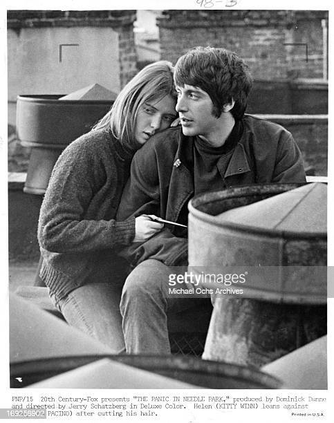 Kitty Winn leans on Al Pacino in a scene from the film 'The Panic In Needle Park' 1971