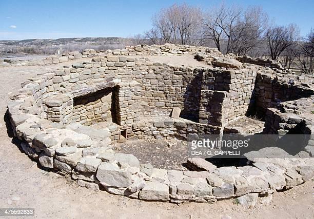 Kiva, circular pit chamber used foor ceremonies, Aztec Ruins National Monument, New Mexico, United States. Anasazi Civilisation.
