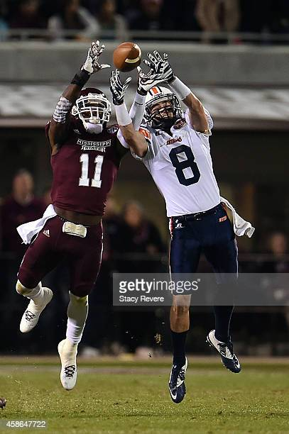 Kivon Coman of the Mississippi State Bulldogs contests a pass intended for William Tanner of the Tennessee Martin Skyhawks during the third quarter...