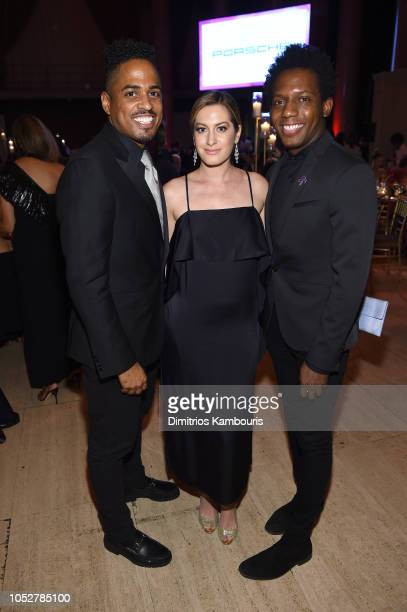Kiwan Anderson and Carlos Greer pose with Elizabeth Wagmeister at the 2018 Angel Ball hosted by Gabrielle's Angel Foundation at Cipriani Wall Street...