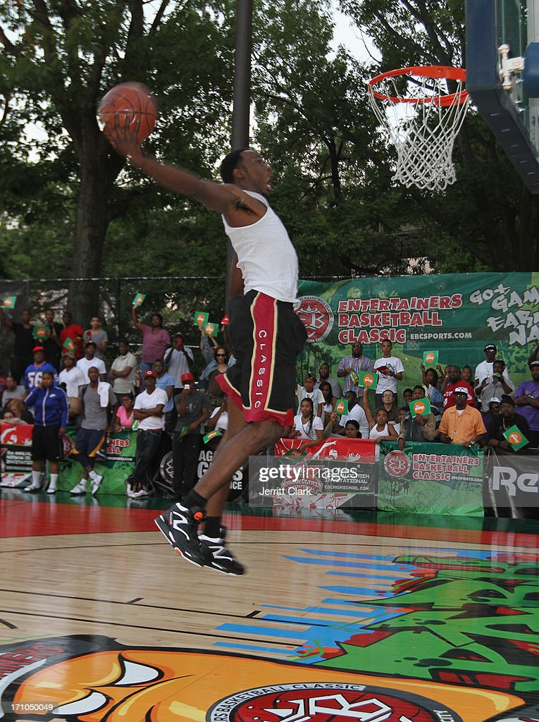 Kiwan Smith competes in the Reebok Classic Pump Omni Lite Dunk Contest at EBC at Rucker Park on June 20, 2013 in New York City.