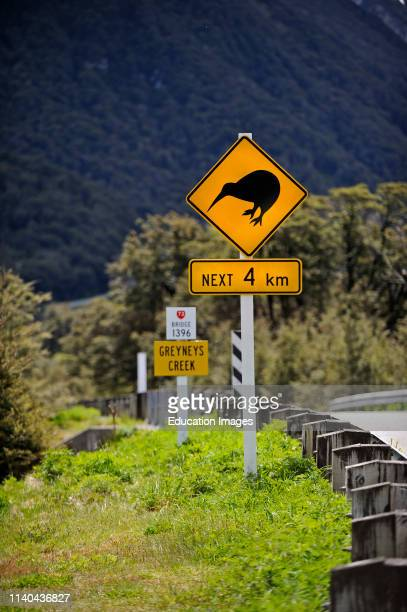 Kiwi caution sign on road to Arthurs Pass Southern Alps South Island New Zealand