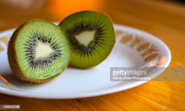 Kiwi on white plate