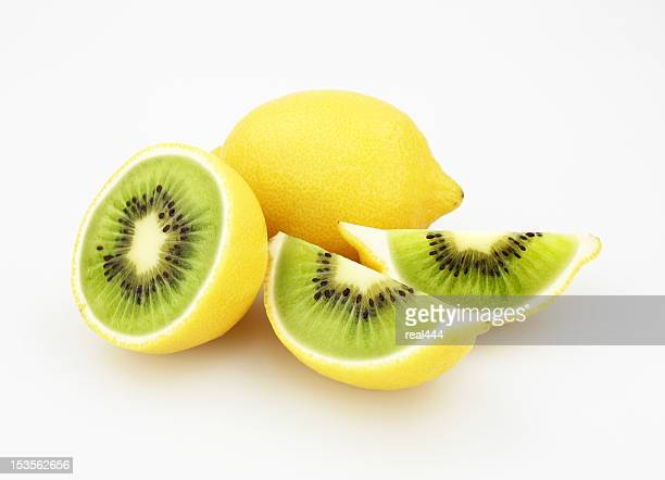 kiwi or lemon - artificial stock pictures, royalty-free photos & images