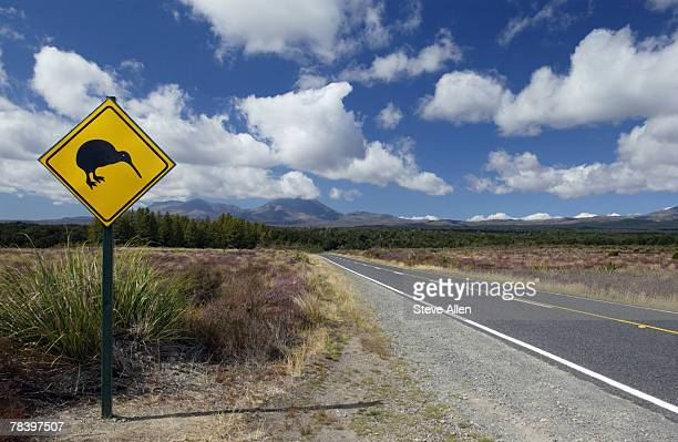 Kiwi sign by country road, New Zealand