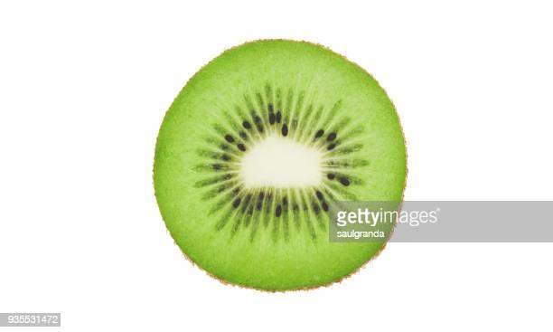 Kiwi slice against white background