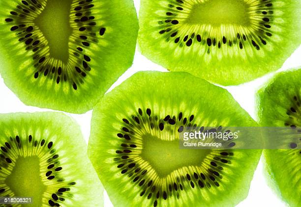 kiwi slices - lightbox stock photos and pictures