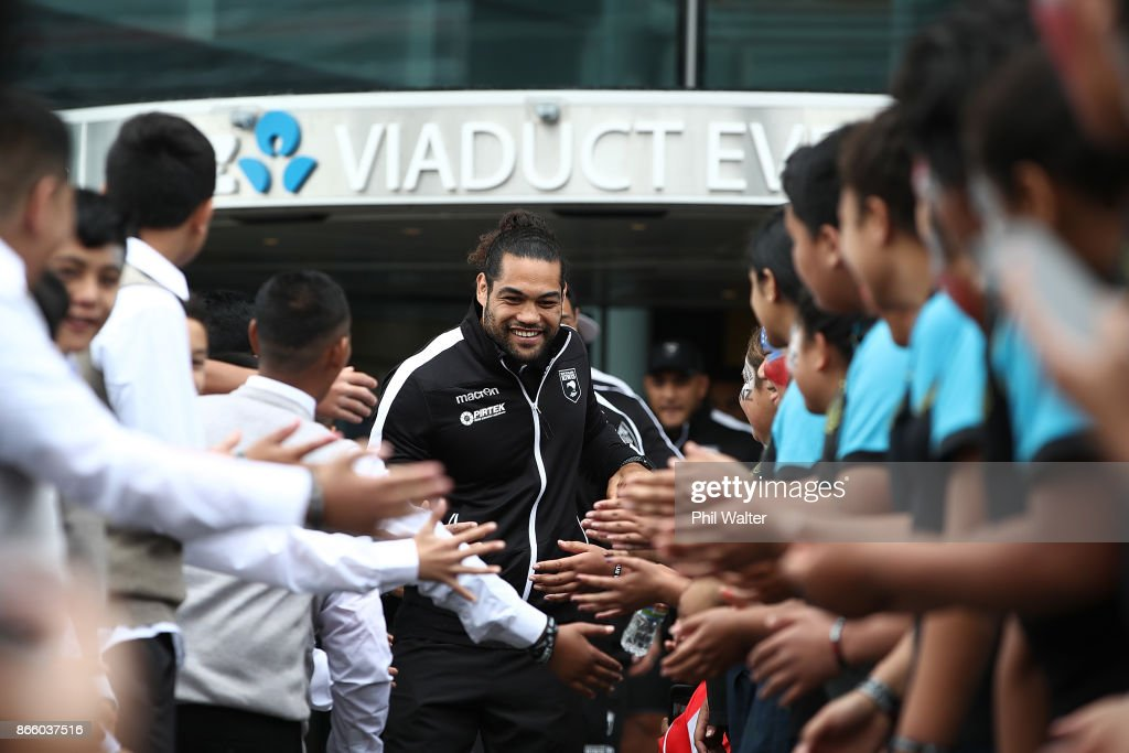 Kiwi's captain Adam Blair arrives for their Rugby League World Cup 2017 Team Welcome at Wynard Quarter on October 25, 2017 in Auckland, New Zealand.