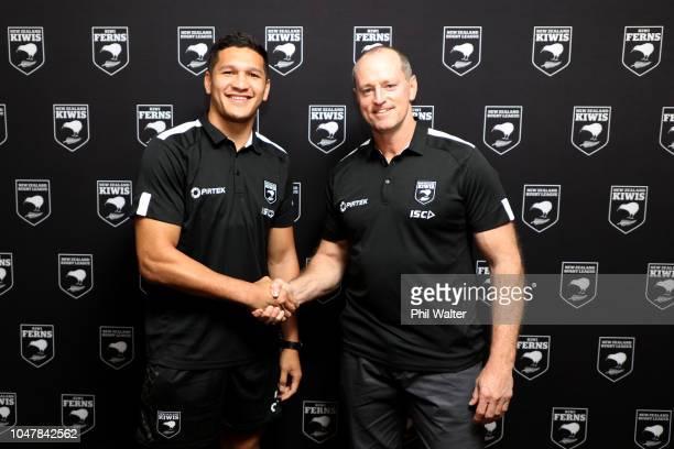 Kiwis coach Michael Maguire and captain Dallin WateneZelezniak shake hands during a New Zealand Kiwis press conference at Mt Smart Stadium on October...