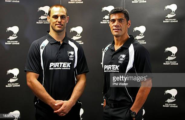 Kiwis coach Stephen Kearney and captain Simon Mannering pose following the New Zealand Kiwis Rugby League World Cup Squad Announcement at Rugby...