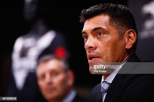 Kiwis Rugby League coach Stephen Kearney speaks during a New Zealand Kiwis press conference at NZRL House on March 27 2015 in Auckland New Zealand...
