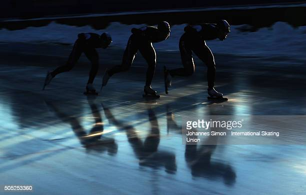 KiWoong Park and the team of Korea participates in the men team pursuit during day 1 of ISU speed skating junior world cup at ice rink Pine stadium...