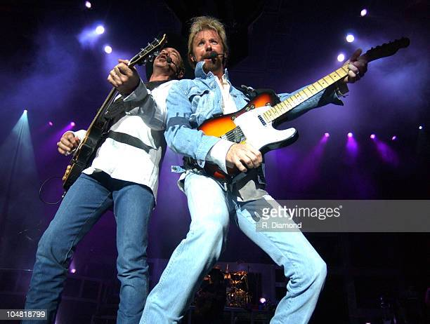 Kix Brooks and Ronnie Dunn during Brooks and Dunn at HiFi Buys Amphitheater at HiFi Buys Amphitheater in Atlanta Georgia United States