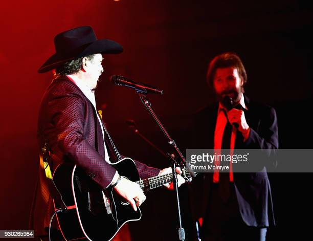 Kix Brooks and Ronnie Dunn of Brooks and Dunn perform onstage at Celebrity Fight Night XXIV on March 10 2018 in Phoenix Arizona