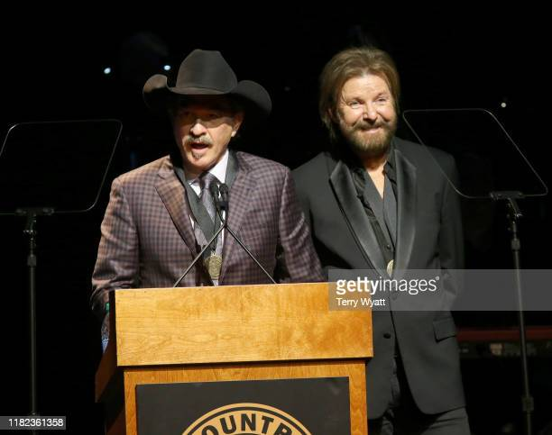 Kix Brooks and Ronnie Dunn of Brooks and Dunn speak onstage during the 2019 Country Music Hall of Fame Medallion Ceremony at Country Music Hall of...