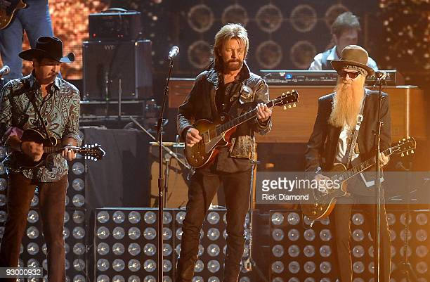Kix Brooks and Ronnie Dunn of Brooks Dunn with Billy Gibbons perform onstage during the 43rd Annual CMA Awards at the Sommet Center on November 11...
