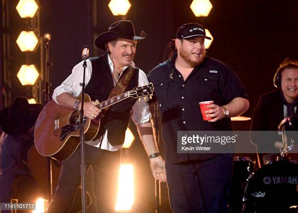 Kix Brooks of Brooks Dunn and Luke Combs perform onstage during the 54th Academy Of Country Music Awards at MGM Grand Garden Arena on April 07 2019...
