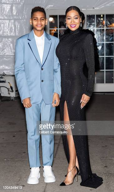 Kiyan Carmelo Anthony and La La Anthony are seen arriving to the 2020 amfAR New York Gala at Cipriani Wall Street on February 05, 2020 in New York...