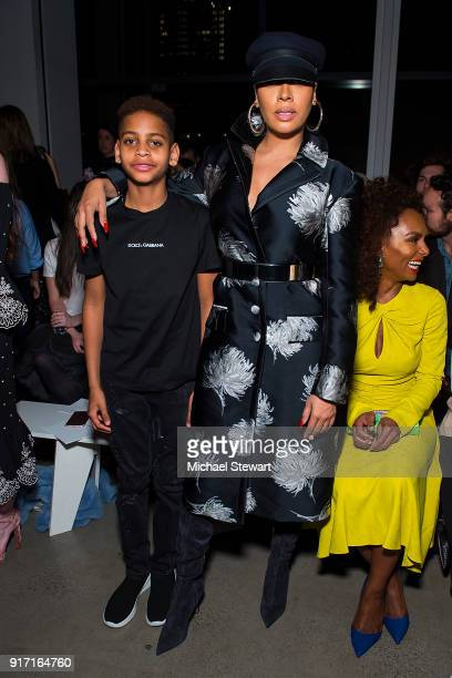 Kiyan Carmelo Anthony and La La Anthony attend the Prabal Gurung fashion show during New York Fashion Week at Gallery I at Spring Studios on February...