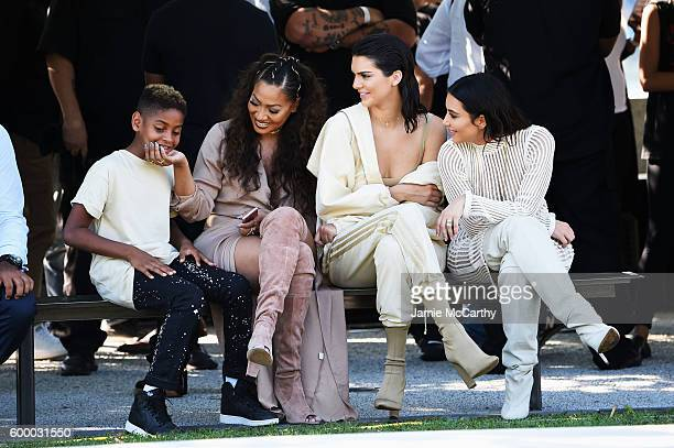 Kiyan Carmelo Anthony La La Anthony Kendall Jenner and Kim Kardashian attend the Kanye West Yeezy Season 4 fashion show on September 7 2016 in New...