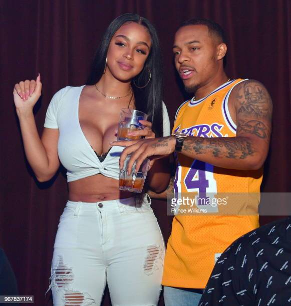 Kiyomi Leslie and Shad Moss attend Industry Night at Tongue Groove on June 5 2018 in Atlanta Georgia