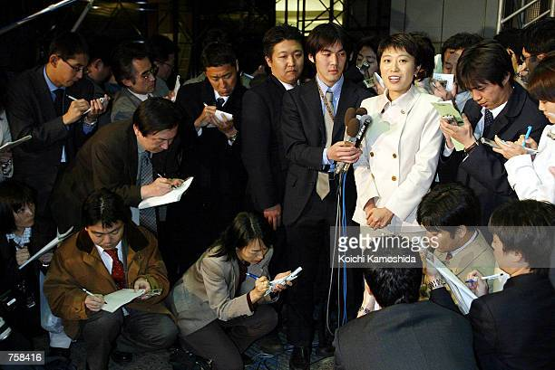 Kiyomi Tsujimoto Policy Board Chairwoman of the opposition Social Democratic Party speaks to reporters March 25 2002 at the TBS television studios in...