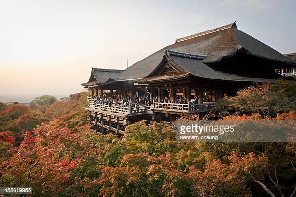 kiyomizu-dera in autumn - kyoto, japan - kiyomizu dera temple stock photos and pictures
