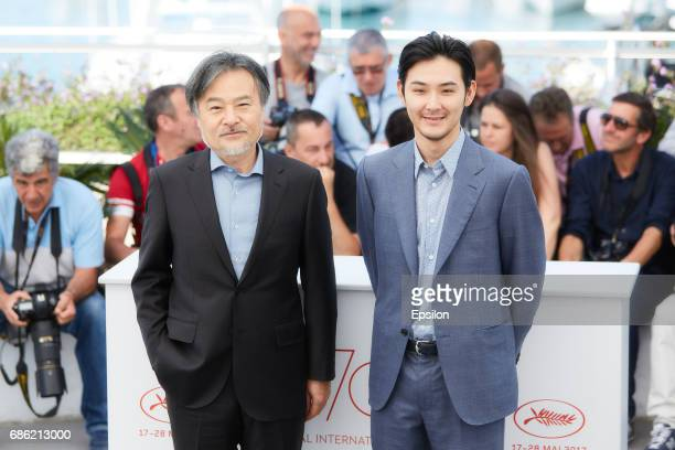 Kiyoshi Kurosawa Ryuhei Matsuda attend the 'Before We Vanish ' photocall during the 70th annual Cannes Film Festival at Palais des Festivals on May...