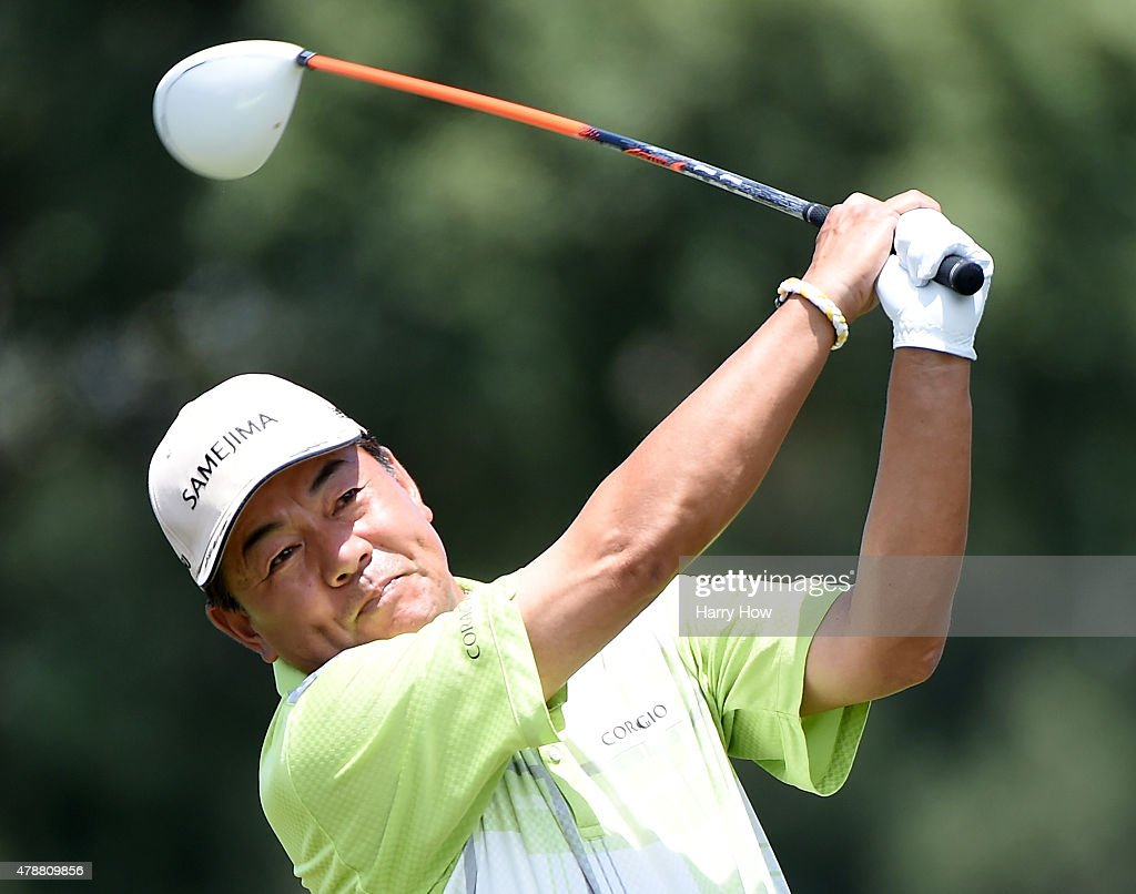 Kiyoshi Murota of Japan hits a tee shot on the ninth hole during round three of the U.S. Senior Open Championship at the Del Paso Country Club on June 27, 2015 in Sacramento, California.