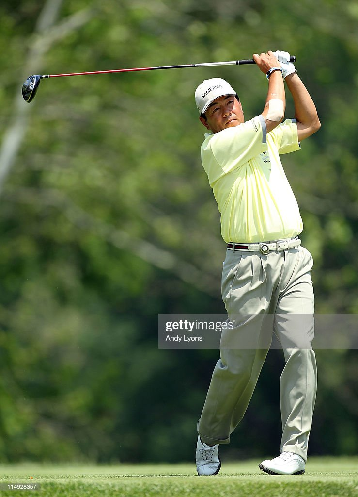 Kiyoshi Murota of Japan hits his tee shot on the par 4 5th hole during the Senior PGA Championship presented by KitchenAid at Valhalla Golf Club on May 29, 2011 in Louisville, Kentucky.
