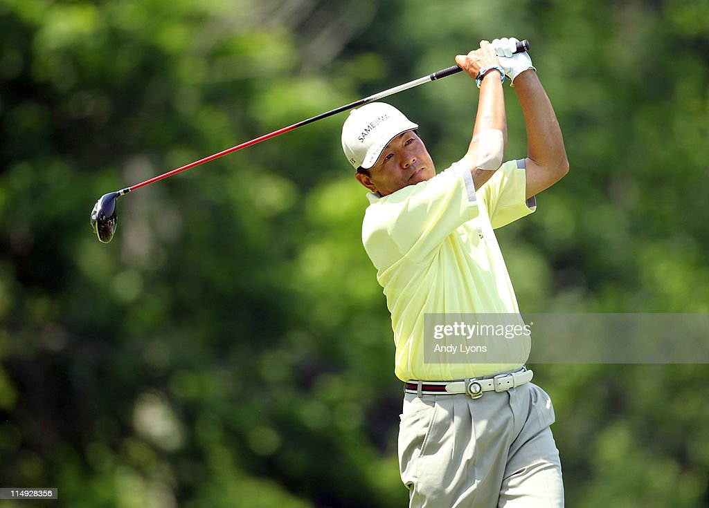 Kiyoshi Murota of Japan hits his tee shot on the par 4 6th hole during the Senior PGA Championship presented by KitchenAid at Valhalla Golf Club on May 29, 2011 in Louisville, Kentucky.