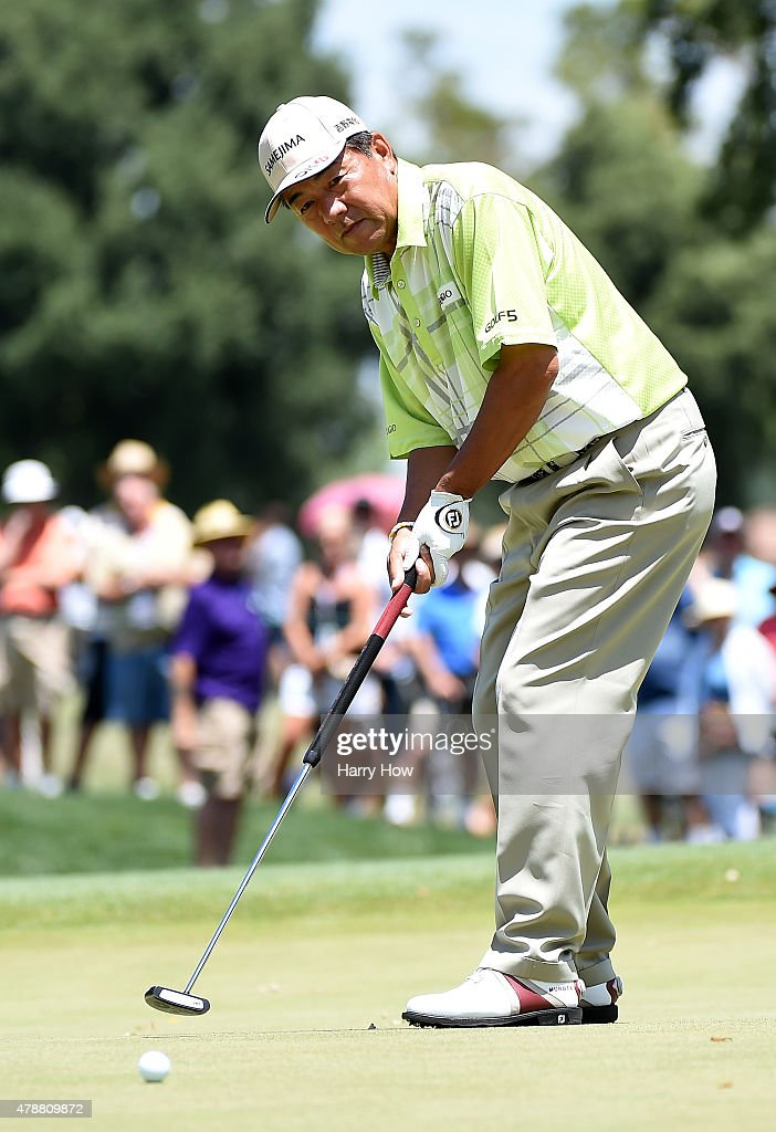 Kiyoshi Murota of Japan watches his putt on the eighth hole during round three of the U.S. Senior Open Championship at the Del Paso Country Club on June 27, 2015 in Sacramento, California.