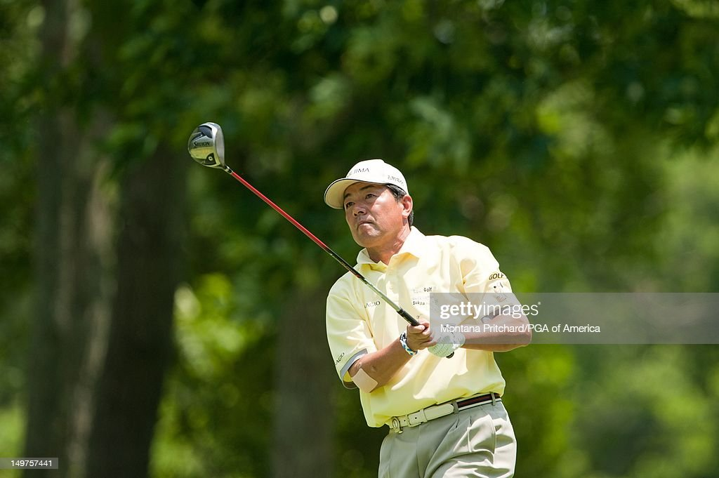 Kiyoshi Murota tees off on the second hole during the final round of play at the 72nd Senior PGA Championship Presented by KitchenAid at Valhalla Golf Club in Louisville, KY, USA, on Sunday, May 29, 2011.