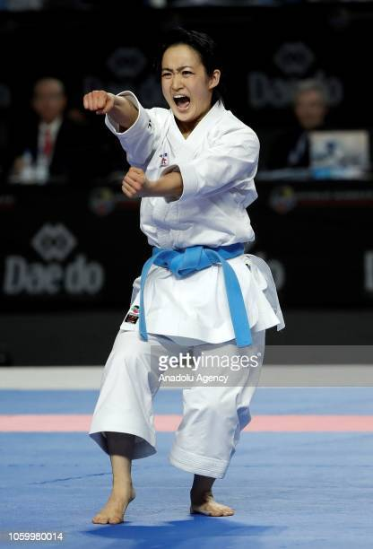 Kiyou Shimizu of Japan competes during Women's Individual Kata gold medal match against Sandra Sanchez of Spain within the 24th Karate World...