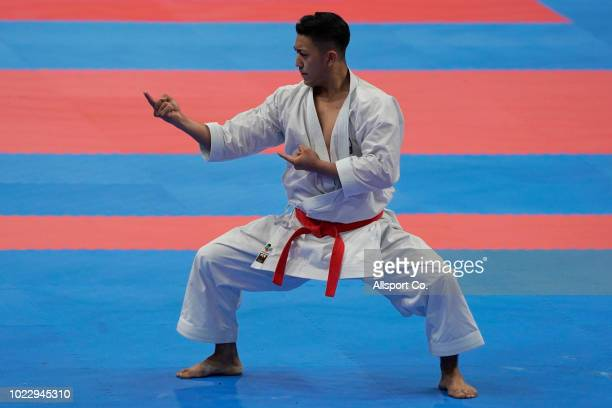 Kiyuna Ryo of of Japan competes during the Men's Karate Kata final at the JCC PLenary Hall on day seven of the Asian Games on August 25 2018 in...