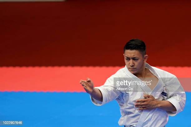 Kiyuna Ryo of of Japan competes during the Men's Karate Kata quarter finals at the JCC PLenary Hall on day seven of the Asian Games on August 25 2018...