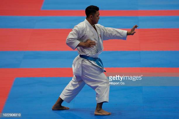 Kiyuna Ryo of of Japan in action during the Men's Karate Kata quarter finals at the JCC PLenary Hall on day seven of the Asian Games on August 25...