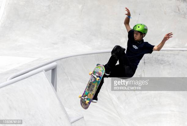 Kizuki Sakamoto of Japan competes in the park skateboarding venue during a test event for Tokyo 2020 Olympic Games at the Ariake Urban Sports Park in...