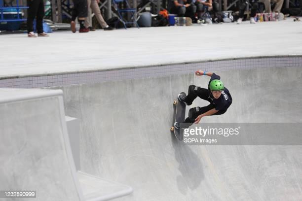 Kizuki Sakamoto performs his routine during the READY STEADY TOKYO Skateboarding Test Event at Ariake Urban Sports Park in course of the preparations...