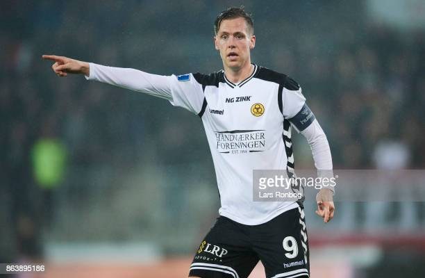 Kjartan Finnbogason of AC Horsens gestures during the Danish Alka Superliga match between FC Midtjylland and AC Horsens at MCH Arena on October 20...