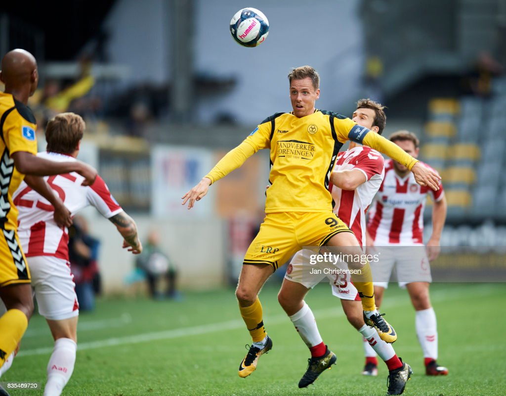 Kjartan Finnbogason of AC Horsens in action during the Danish Alka Superliga match between AC Horsens and AaB Aalborg at Casa Arena Horsens on August 18, 2017 in Horsens, Denmark.