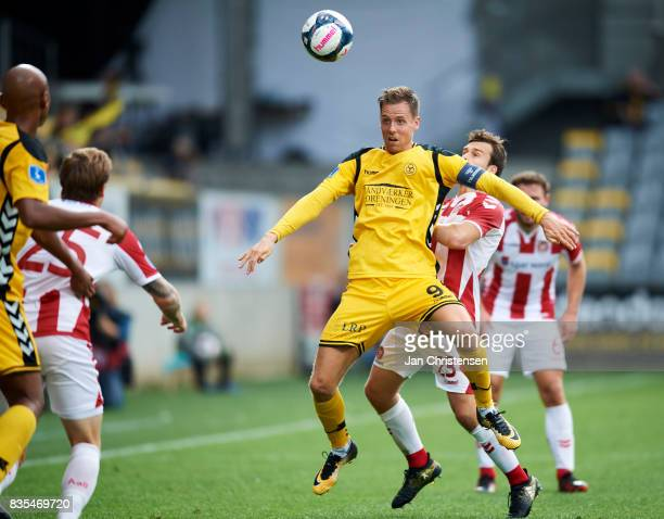 Kjartan Finnbogason of AC Horsens in action during the Danish Alka Superliga match between AC Horsens and AaB Aalborg at Casa Arena Horsens on August...