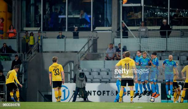 Kjartan Finnbogason of AC Horsens scores the 12 goal during the Danish Alka Superliga match between AC Horsens and Brondby IF at CASA Arena Horsens...
