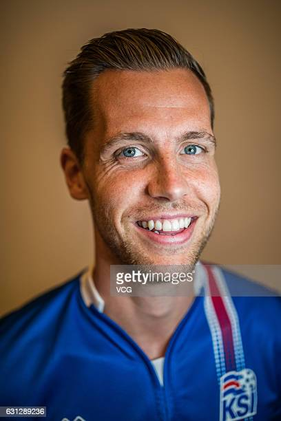 Kjartan Finnbogason of Iceland poses during the team presentation ahead of the 2017 Gree China Cup International Football Championship on January 8...