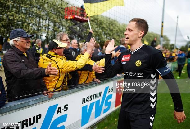 Kjartan Henry Finnbogason of AC Horsens celebrates with the fans after the Danish Alka Superliga Playoff match between Vendsyssel FF and AC Horsens...