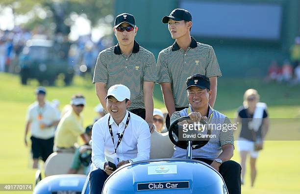 Choi of South Korea the International team vicecaptain with Sangmoon Bae of South Korea and Danny Lee of New Zealand during the Thursday foursomes...